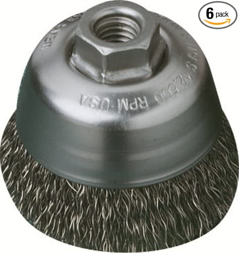6-Pack United Abrasives-SAIT 03502 2-3//4-Inch by .020-Inch by M14-Inch by 2.0 Knot Carbon Steel Brush