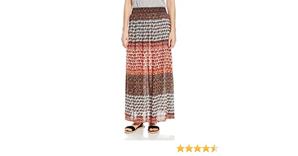 Angie Womens Coral Smocked Waist Maxi Skirt Angie Juniors 26L23-NM97