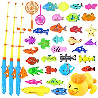 Fabaceae 37 Pack Magnetic Fishing Toy Game, 31 Kinds Fish with Rod nets, Children's Fishing Bath Toys with Learning and Education, Suitable for Children Aged 3 4 5 6 7 8 9