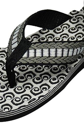 Azbro Mujer Zapatillas de Playa Flip Flop Verano Estampado Masaje Tribal Negro