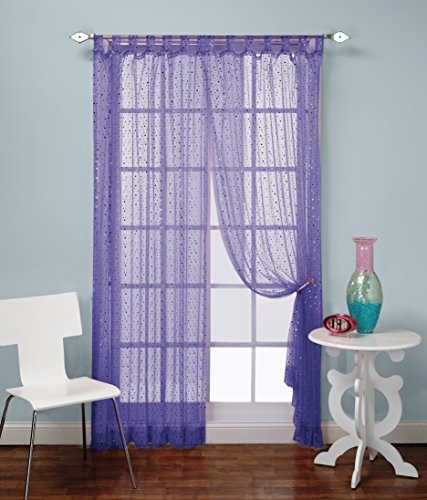 1888 Mills Groovy 50-inch-by-63-inch Single Tab-Top Panel Sheer with Sequins, Purple ()
