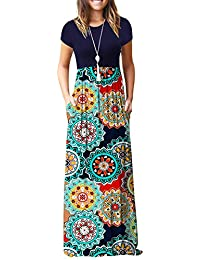 Women Short Sleeve Loose Plain Casual Long Maxi Dresses with Pockets