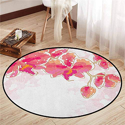- Indoor/Outdoor Round Rugs,Floral,Contour Drawing Orchids Flower Tropic Bridal Bouquet Blossoms Watercolor Art Design,Ideal Gift for Children,5'3