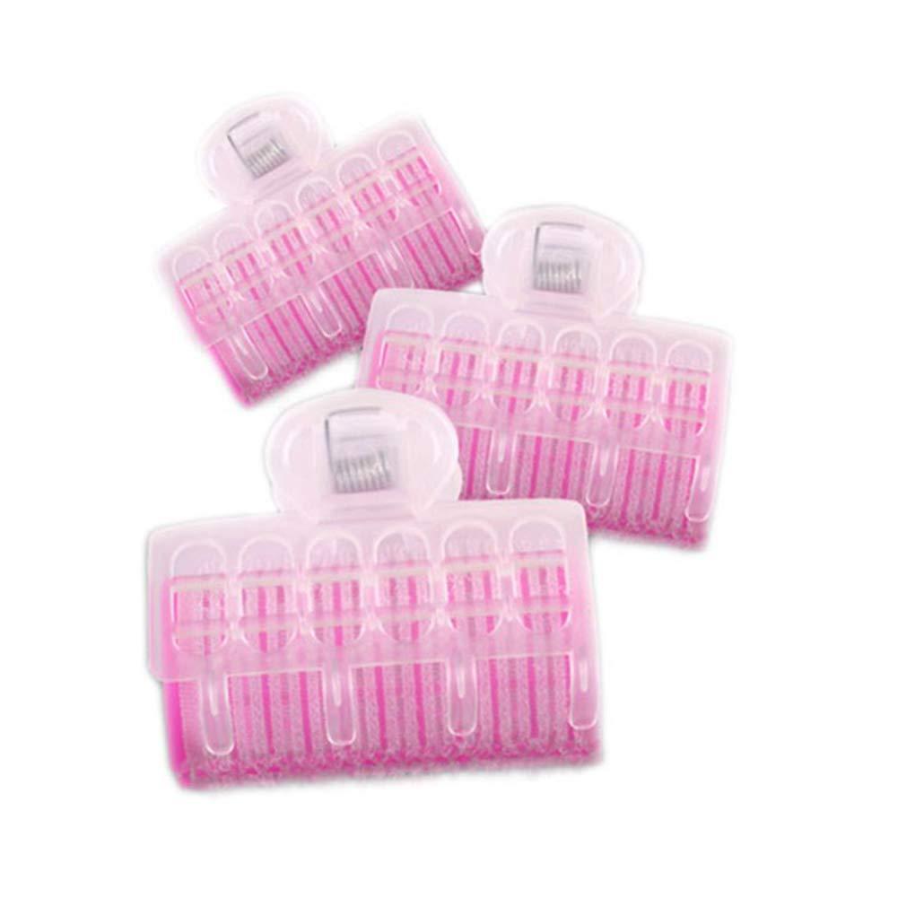 Trifycore 3 PCS rulos bigudíes de Bang Auto-Captura de Nylon pegajosos Herramientas Pinzas con los Accesorios del Pelo de la Pinza de plástico Rosa tamaño Grande, Cuidado del Cabello
