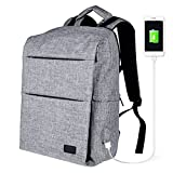 Anti Theft Travel Laptop Backpack with USB Charging Fits 15.6 Inch Laptop, Computer Backpack for Business, School Bookbag with Charging Port for Men & Women by RUN ANT (Grey)