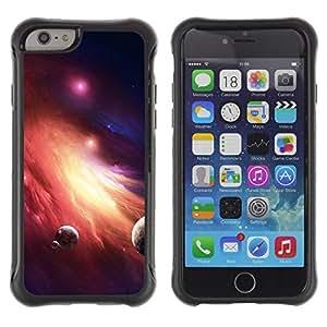 "Pulsar iFace Series Tpu silicona Carcasa Funda Case para Apple iPhone 6+ Plus(5.5 inches) , Enano Galaxy planetas Fuego Arte Red Star Dust"""