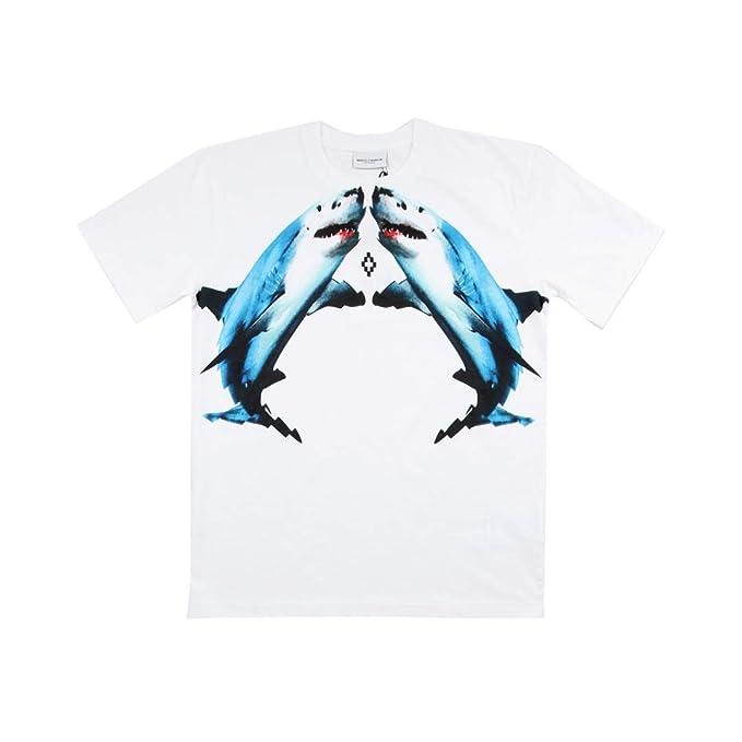 superior quality 3edc5 7f437 MARCELO BURLON T-Shirt Maniche Corte Stampa Squali: Amazon ...