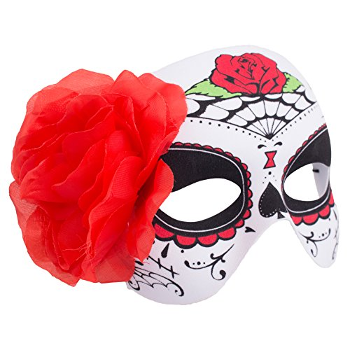 Day Of The Dead Adult Half Mask (Veil Entertainment Day of The Dead Rose & Webs Half Mask, White Red, One Size)