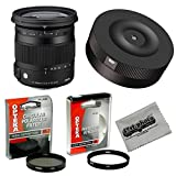 Sigma 17-70mm f/2.8-4 DC Contemporary Macro OS HSM TSC Lens with USB Firmware Lens Dock Kit for Canon and Opteka High Definition HD II UV & CPL Filter Accessory Set