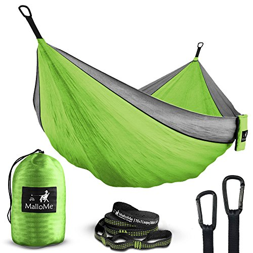 Heavy Duty Nylon Net - Double Portable Camping Hammock - Parachute Lightweight Nylon with Ropes or Hammok Tree Straps Set- 2 Person Equipment Kids Accessories Max 1000 lbs Breaking Capacity - Free 2 Carabiners