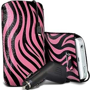 Sony Xperia Z1 compacto premium protector Cebra PU ficha de extracción Slip In Pouch Pocket Cordón piel cubierta Con Quick 12v Micro USB Car Charger Rosa y Negro por Spyrox