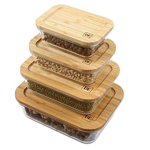 DE Plastic-Free Glass Food Containers, Glass Food Storage Containers with Eco-Friendly Bamboo Lids, Glass Meal Prep Containers, Glass Bento, Lunch Containers (Set of 4: 370ML, 640ML, 1040ML, ()