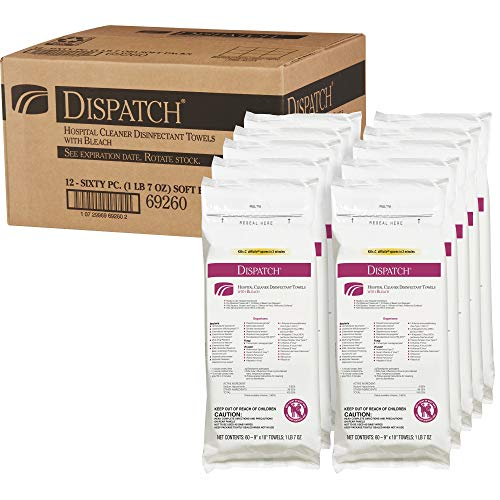 Dispatch Hospital Cleaner Disinfectant Towels with Bleach, 60 Count Resealable Pack (Pack of 12) ()