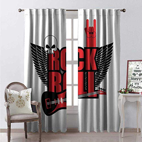Quote Window Curtain Drape Hardcore Music Rockn Roll Hand Sign Guitar Angel Wings Skull Customized Curtains W72 x L108 Black White and Vermilion