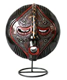 NOVICA Decorative Ghanaian Sese Wood Mask with Stand, Brown 'A Maiden's Purity'
