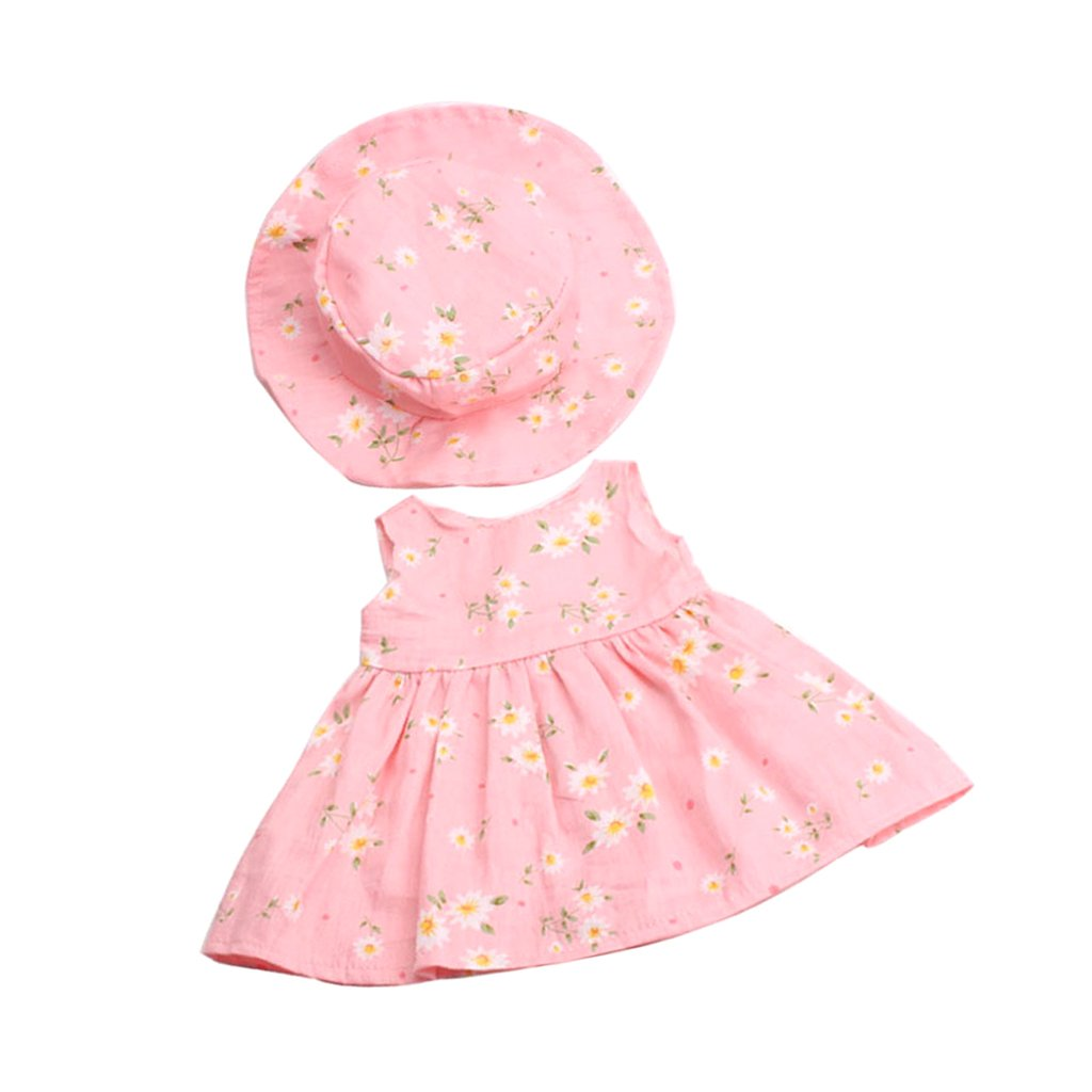 Fityle Stylish Clothes Outfit For 18'' American Girl Dolls Dress Hat Pink