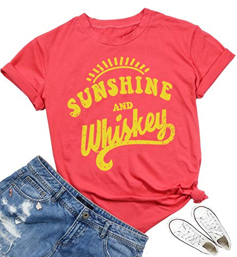 (XMLMRY Sunshine and Whiskey T Shirts Women Short Sleeve Beach Kindness Cute Graphic Funny Letters Print Summer Tops Tees Watermelon Red)