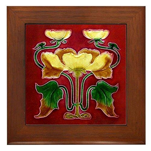 (CafePress - Framed Tile with Art Nouveau Autumn Floral Form - Framed Tile, Decorative Tile Wall Hanging)