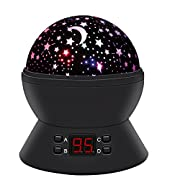 Star Sky Night Lamp,ANTEQI Baby Lights360 Degree Romantic Room Rotating Cosmos Star Projector With LED Timer Auto-Shut Off,USB Cable For Kid Bedroom,Christmas Gift (Black)