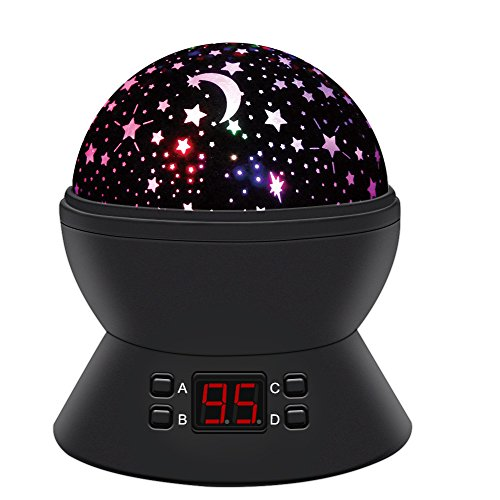 Star Sky Night Lamp,ANTEQI Baby Lights 360 Degree Romantic Room Rotating Cosmos Star Projector With LED Timer Auto-Shut Off,USB Cable For Kid Bedroom,Christmas Gift (Black) by ANTEQI
