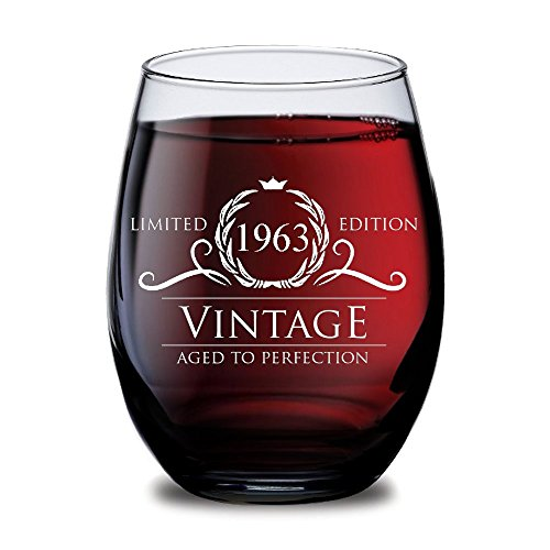 Vintage Glass (HUHG 1963 55th Birthday or Anniversary Wine Glass Vintage Aged to Perfection - 15 oz Stemless - Gift for Mom, Dad, Grandma or Best Friend from Son, Daughter, Husband, Wife or Kids - Wine Glasses)