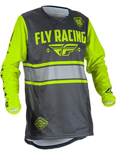 (Fly Racing 2018 Youth Kinetic Jersey - Era (SMALL) (GREY/HI-VIZ))