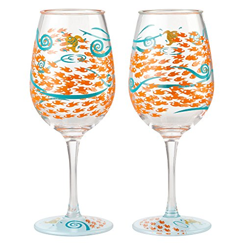 Enesco Designs by Lolita Fish Out of Water Acrylic Wine Glasses, Set of 2, 16 ()