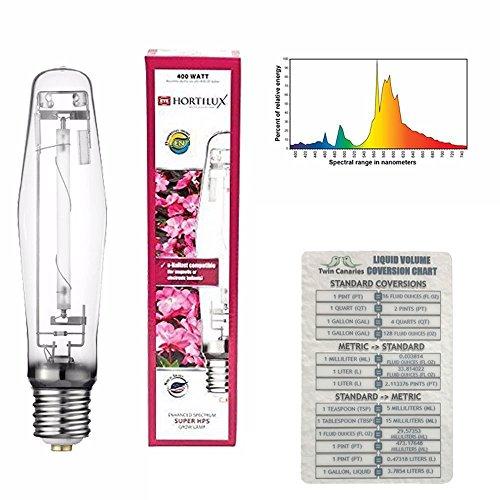 VARIOUS SIZES HORTILUX SUPER HPS ENHANCED SPECTRUM BULB LAMP WATT + TWIN CANARIES CHART - 400 w by Eye Hortilux