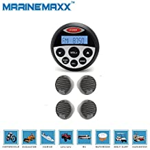 Waterproof Marine Gauge Radio FM AM MP3 USB Audio Stereo Receiver for Boat ATV UTV SPA+2Pairs 3 inch Waterproof Marine Speakers