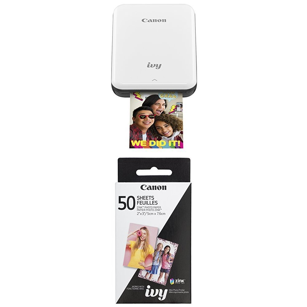 Canon IVY Mobile, Portable Mini Photo Printer, Slate Gray with Zink Photo Paper Pack, 50 sheets