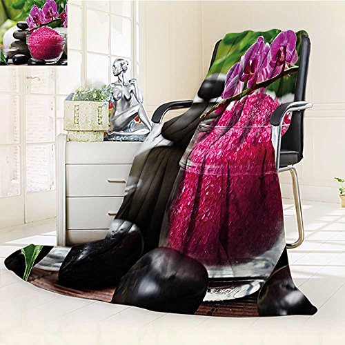 YOYI-HOME Lightweight Summer Duplex Printed Blanket,Spa Black Zen Stone Triplets with Asian Type Orchids and Fuchsia Salt Fuchsia Black and Green Bed,Sofa, Air-Conditioner Room /W47 x H79 by YOYI-HOME