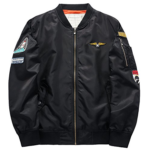 Quilted Nylon Bomber Jacket (YIMANIE Mens Classic Bomber Jacket Casual Nylon Quilted with Patches Outerwear)