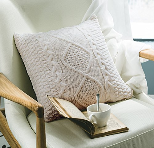 ANDUUNI Decorative Cotton Knitted Pillow Case Cushion Cover Double-Cable Knitting Patterns Warm Throw Pillow Covers (Cover Only, Beige)