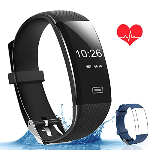 Fitness Tracker,Smart Fitness Watch Activity Tracker Sleep Blood Heart Rate Monitor Call Message Reminder with Sport GPS Tracker Calorie Counter Waterproof Bluetooth Wristband for iOS & Android