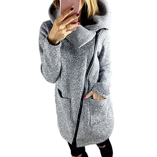 Lucao Women's Fashion Side Zipper Long Jacket Lapel High Trench Coat Outwear With Pockets Plus Size Grey-S - Transitional Three Tier