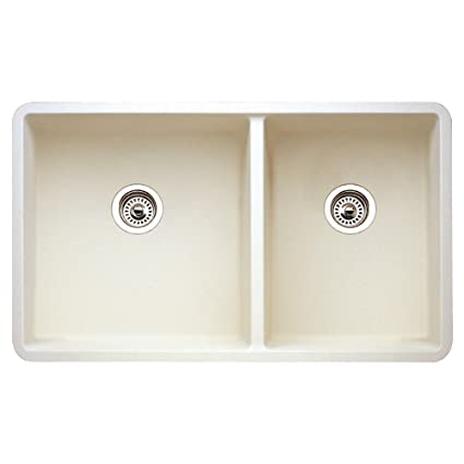 Blanco 441127 16-Inch Précis 1-3/4 Bowl Sink, Biscuit - Double Bowl ...