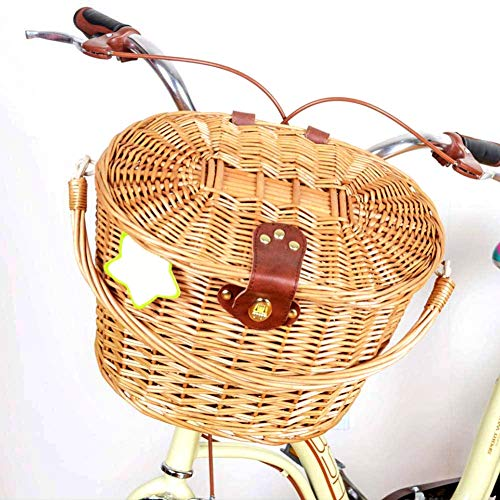 JUST N1 Vintage Rattan Basket with Lid Pastoral Style Wicker Portable Shopping Bicycle Storage Front Basket Living Room Gardening Decoration ()