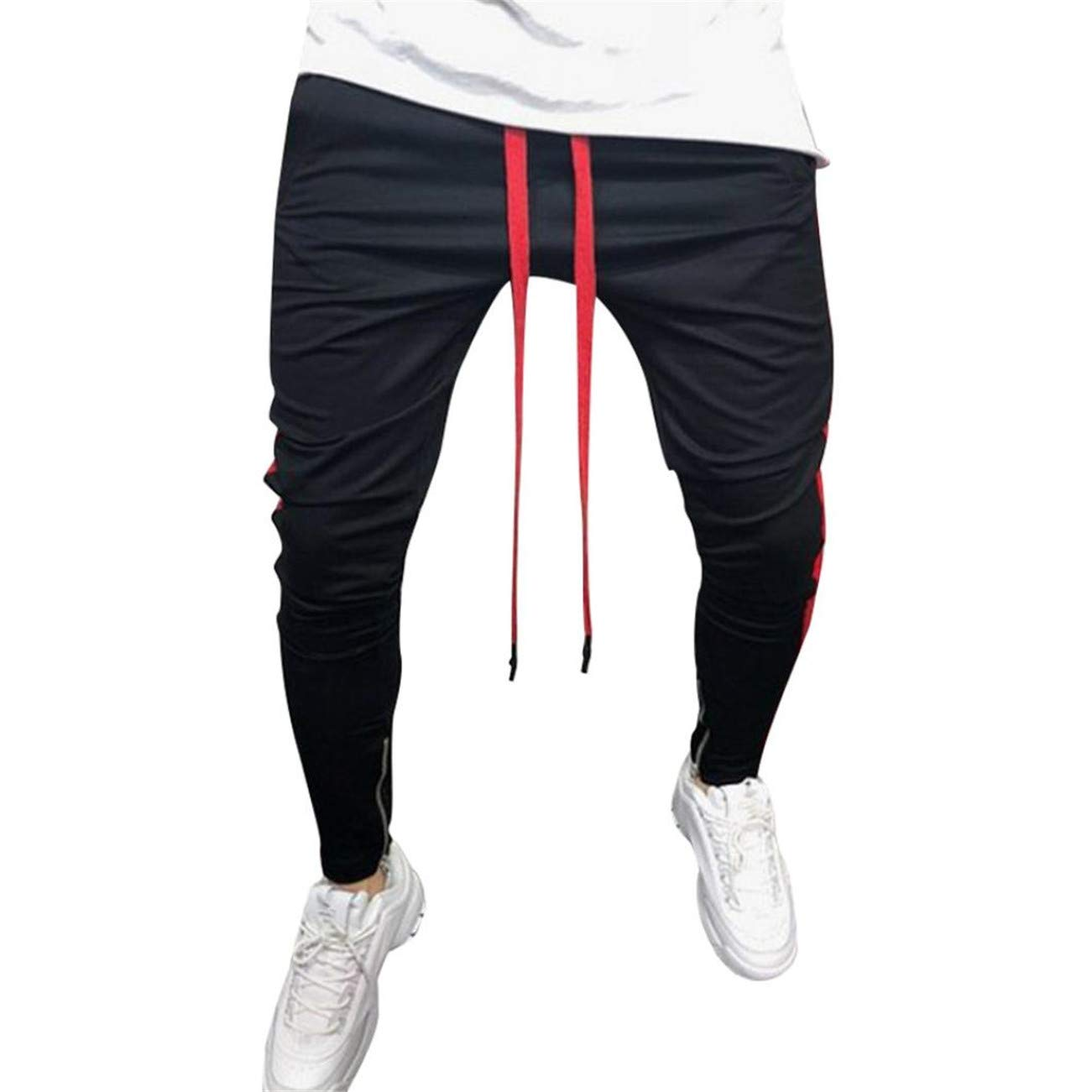 Ansenesna Men Tops Casual Elastic Joggings Sport Striped Baggy Pockets Bunch Combat