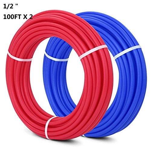 Superland 1/2 Inch PEX Tubing 100ft 2 Rolls Potable Water Pipe Red and Blue Radiant Heat PEX-B Plumbing Pipe Residential and Light Commercial Hot and Cold Water Plumbing Applications (100ft x 2) ()