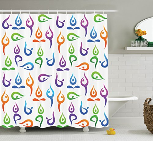 Ambesonne Yoga Decor Collection, Yoga Pattern Exercise Fitness Health and Healthcare Concentration Lifestyle Relaxation Image, Polyester Fabric Bathroom Shower Curtain, 84 Inches Extra Long, Purple