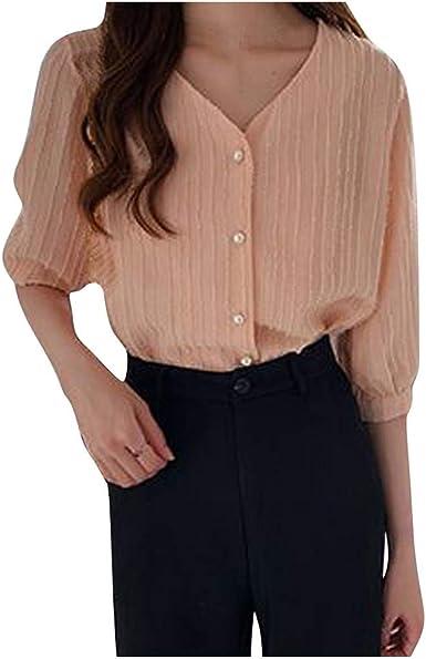 SEWORLD Camisa de Mujer Camiseta de Manga Corta con Cuello Redondo y Top de Encaje para Mujer(Verde, Beige, Rosa, M, L, XL, XXL, XXXL, XXXXL): Amazon.es: Ropa y accesorios