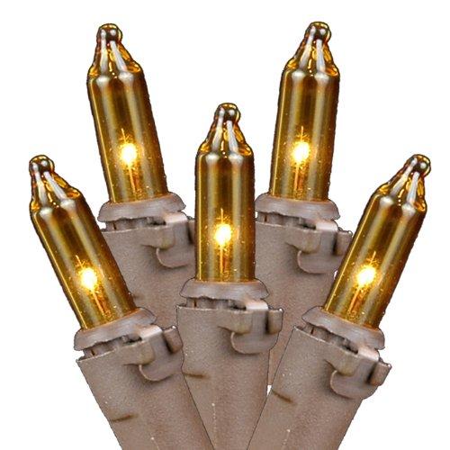 Novelty Lights 100 Light Yellow Christmas Mini Light Set, Brown Wire, 50' Long