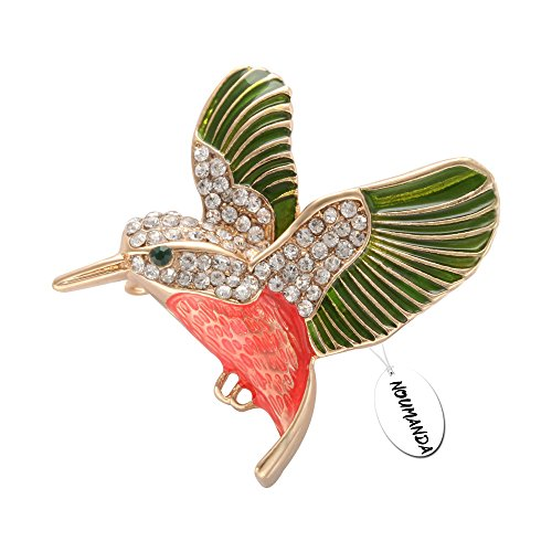 NOUMANDA Hummingbird Brooch Pin Crystal Enamel Gold Emerald Bird Broaches Jewelry for Birds Lover (pink and (Hummingbird Bird Pin)