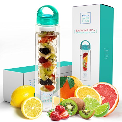Savvy Infusion Water Bottles - 24 or 32 Ounce Fruit Infuser Bottle - Featuring Unique Leak Proof Silicone Sealed Cap with Handle - Great Gifts for Women (Twenty Bottles)