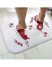 Halloween Prank Blood Mat,Bath Mat Changes Color When Wet,Bloody Footprint Non-Slip Bath Mat,Halloween Theme Decor Props,23 inch X 15.7 inch