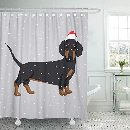 Staropor Decorative Shower Curtain Wiener Polygon Dog Collection Dachshund in Christmas Santa Hat Adorable Animal Cute 72