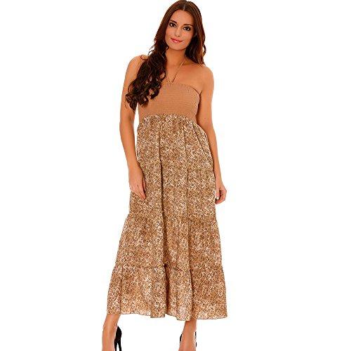 Miss Wear Line - Robe longue d'été bustier à volants taupe motif floral