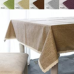 """ColorBird Solid Cotton Linen Tablecloth Waterproof Macrame Lace Table Cover for Kitchen Dinning Tabletop Decoration (Rectangle/Oblong, 55""""102"""", Linen)"""