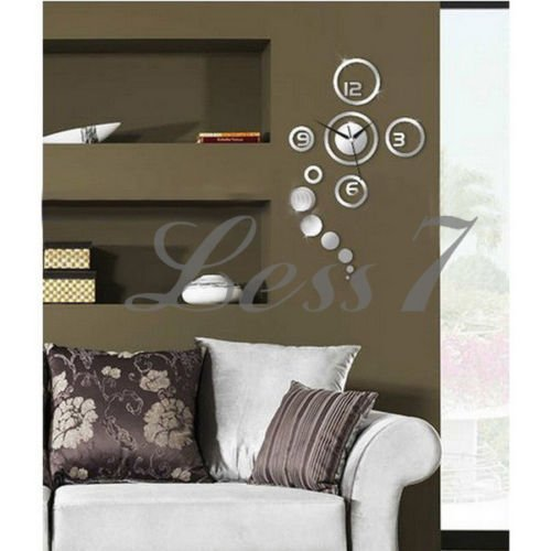 3D DIY Home Modern Creative Decoration Living Room Wall Clock Crystal Mirror - 2