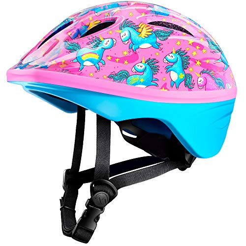 OutdoorMaster Toddler Bike Helmet - CPSC Certified Multi-sport Adjustable Helmet for Children (Age 3-5) , 14 Vents Safety & Fun Print Design for Kids Skating Cycling Scooter - Unicorn (Toddler Helmet 3 Year Old Girl)